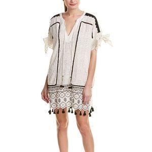 Anthropologie Hemant & Nandita Eyelet Tassel Dress